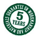 5 Year Guarantee on Workmanship and parts
